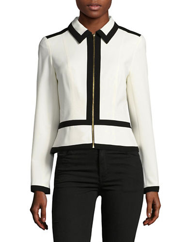 Calvin Klein Monochrome Lux Zip Front Jacket-CREAM MULTI-8