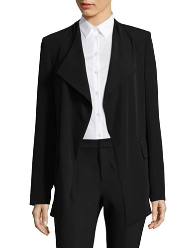 Calvin Klein Exposed Zip Open Front Blazer-BLACK-Small