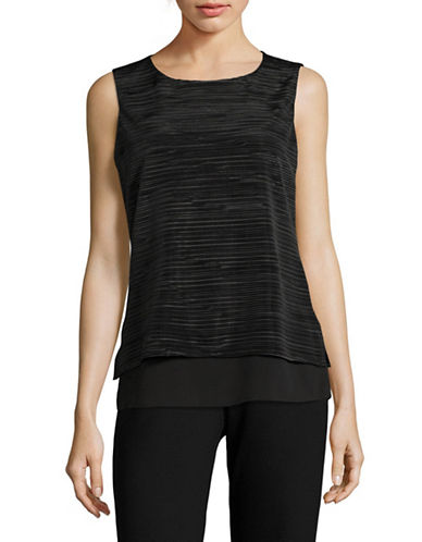 Calvin Klein Crinkled Layered Sleeveless Blouse-BLACK-Medium