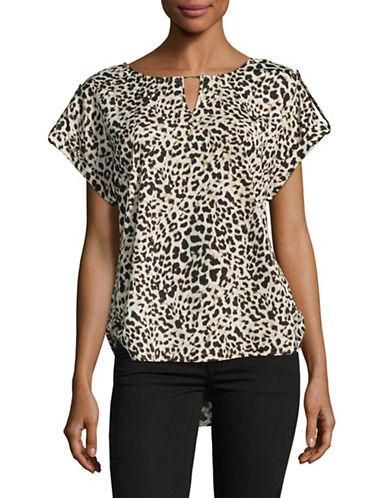 Calvin Klein Leopard Print Roll-Tab Top-LEOPARD-Medium