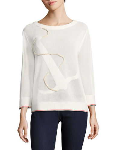 Tommy Hilfiger Anchor Crochet Sweater-IVORY-Small