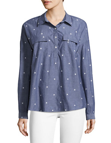 Tommy Hilfiger Star Embroidered Shirt-BLUE-X-Large
