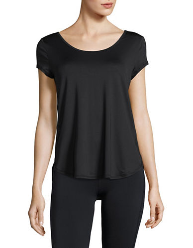 Calvin Klein Performance Strappy-Back Wicking Mesh Tee-BLACK-X-Large