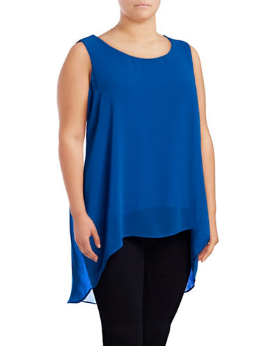 Calvin Klein Plus Chiffon Sharkbite Overlay Top-BLUE-2X