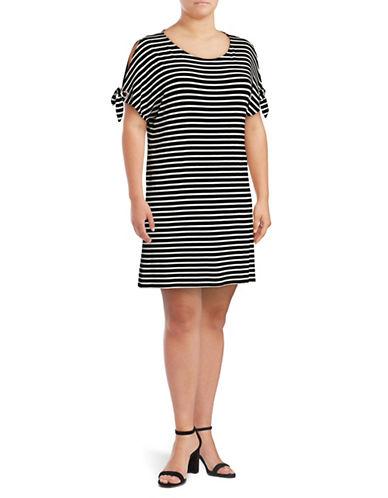 Calvin Klein Plus Striped Short Sleeve Tie-Sleeve Dress-BLACK MULTI-2X