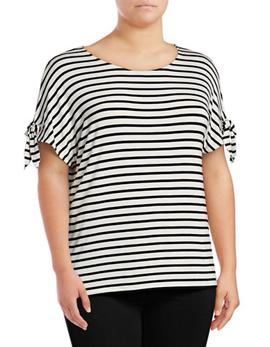 Calvin Klein Plus Striped Short Sleeve Tie-Sleeve Top-WHITE-2X