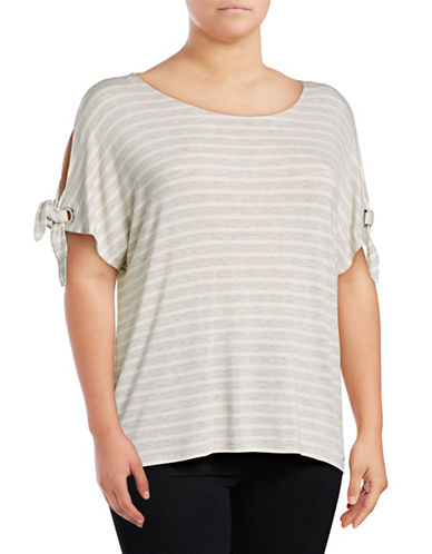 Calvin Klein Plus Striped Short Sleeve Tie-Sleeve Top-GREY-2X