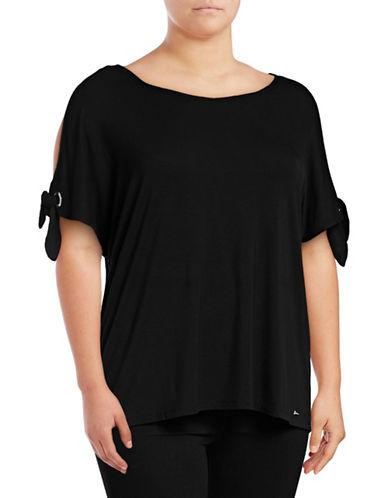 Calvin Klein Plus Short Sleeve Tie-Sleeve Top-BLACK-0X 89378836_BLACK_0X