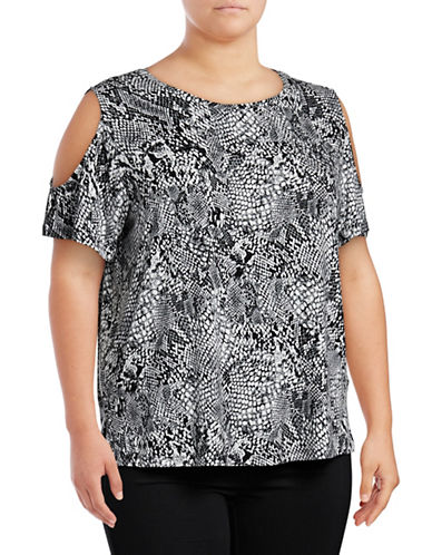 Calvin Klein Plus Printed Cold-Shoulder Slouchy Top-BLACK MULTI-2X