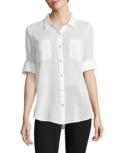 Calvin Klein Crinkled Roll-Sleeve Pocket Blouse-WHITE-Large