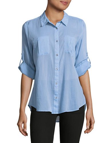 Calvin Klein Crinkled Roll-Sleeve Pocket Blouse-BLUE-X-Small
