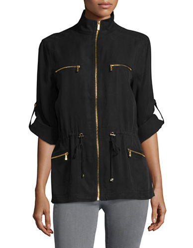 Calvin Klein Roll-Sleeve Lyocell Moto Anorak-BLACK-Small