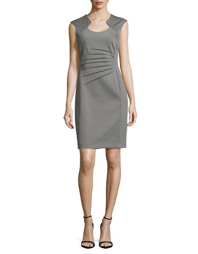 Calvin Klein Cap Sleeve Ponte Starburst Sheath Dress-LIGHT GRAY-6