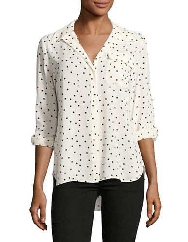 Tommy Hilfiger Spot Print Button Down Shirt-NATURAL-Large