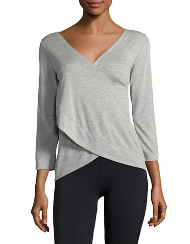 Calvin Klein Performance Overlap Back Three-Quarter Sleeve Top-PEARL HEATHER-Large 89323806_PEARL HEATHER_Large