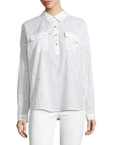 Tommy Hilfiger Star Embroidered Shirt-WHITE/GOLD-Small