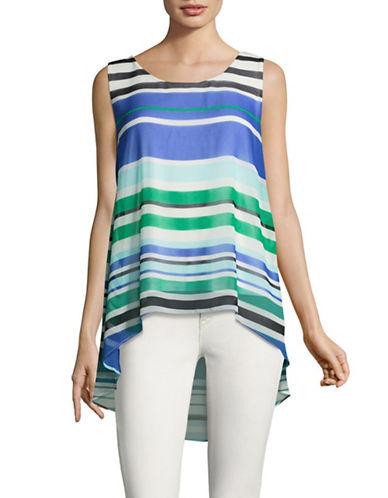 Calvin Klein Sleeveless Chiffon Top-BLUE MULTI-X-Small