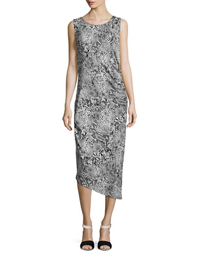 Calvin Klein Snake Print Sheath Dress-BLACK MULTI-Medium