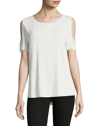 Calvin Klein Stretch Cold-Shoulder Top-DOVE-Medium