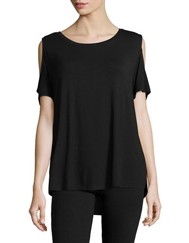 Calvin Klein Stretch Cold-Shoulder Top-BLACK-X-Small 89319191_BLACK_X-Small