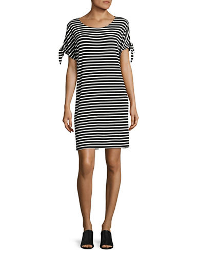 Calvin Klein Short Sleeve Stripe Casual Dress with Ties-BLACK/WHITE-X-Small