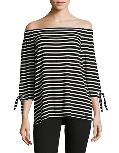 Calvin Klein Striped Off-the-Shoulder Top-BLACK MULTI-Large 89313598_BLACK MULTI_Large