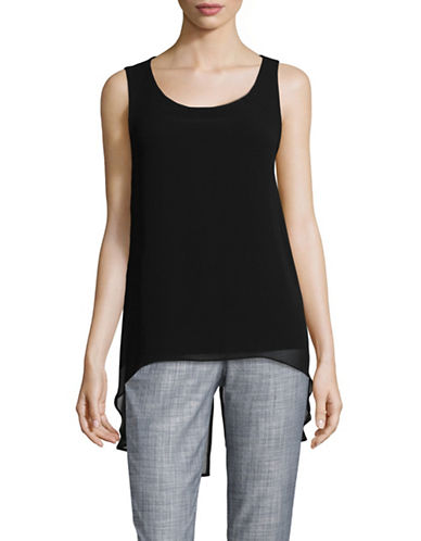 Calvin Klein Sleeveless Chiffon Top-BLACK-X-Small