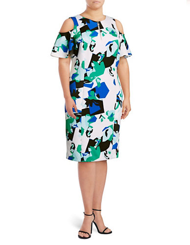 Calvin Klein Plus Ruffled Cut-Out Zip Sheath Dress-MULTI-22W