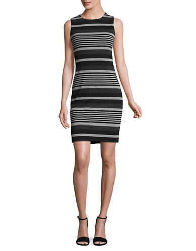 Calvin Klein Striped Ponte Dress-BLACK/MULTI-14