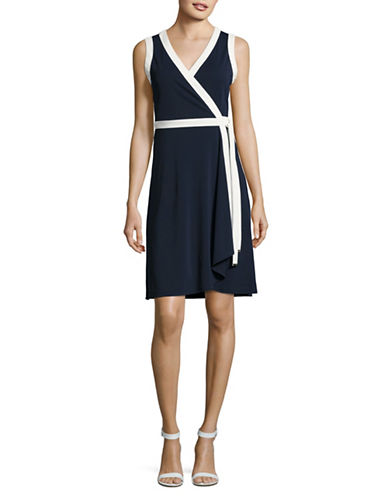 Tommy Hilfiger Tipped Sleeveless Wrap Dress-BLUE/WHITE-6