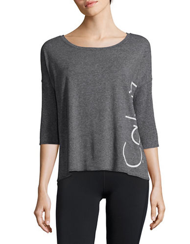 Calvin Klein Performance Hi-Lo Mesh Dolman Tee-BLACK HEATHER-Medium