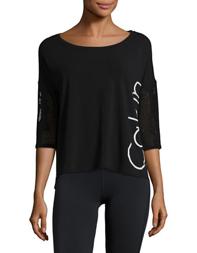 Calvin Klein Performance Hi-Lo Mesh Dolman Tee-GREY-Small 89323830_GREY_Small