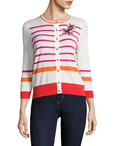 Tommy Hilfiger Striped Cardigan with Sequin Flower-IVORY/PINK-Large