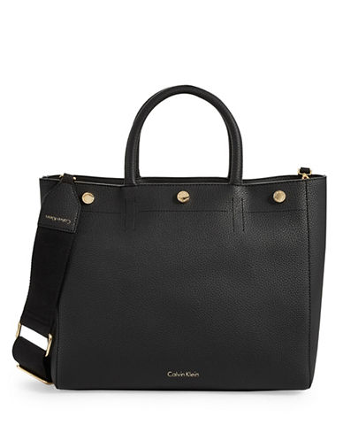 Calvin Klein Pebbled Button-Trim Zip Tote-BLACK-One Size