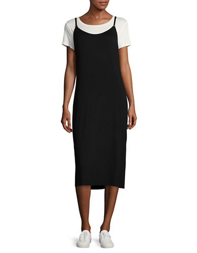 Calvin Klein Layered Midi Slip Dress-BLACK/WHITE-Small