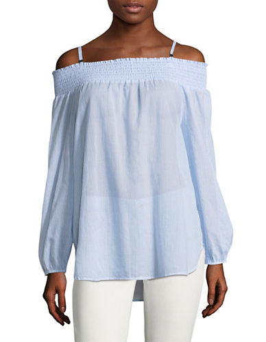 Calvin Klein Printed Off Shoulder Top-BLUE/WHITE-Small