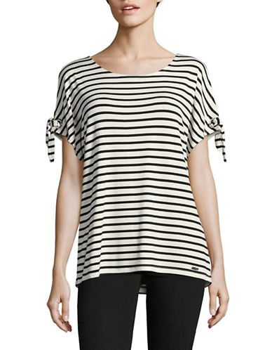 Calvin Klein Striped Short Sleeve Tie-Sleeve Top-WHITE/BLACK-X-Large