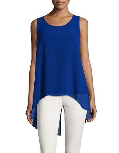 Calvin Klein Sleeveless Chiffon Top-BLUE-Medium