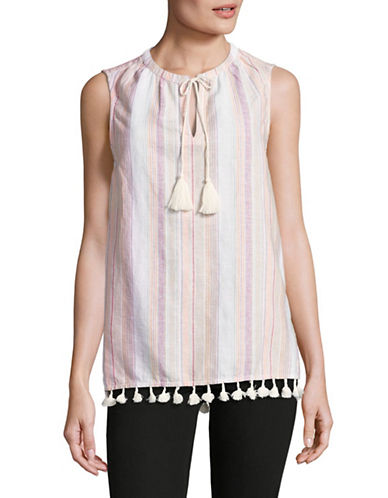 Tommy Hilfiger Sleeveless Top with Tassels-ORANGE-Small