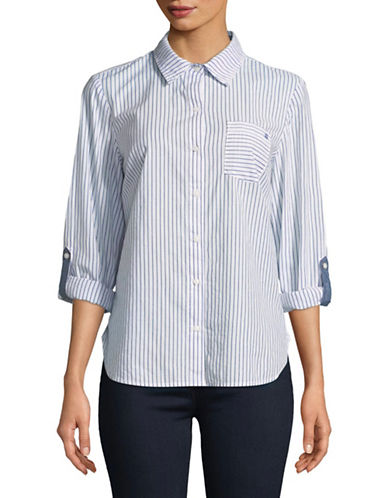Tommy Hilfiger Contrast Stripe Shirt-BLUE-X-Large