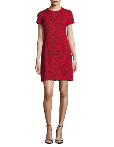 Calvin Klein Short Sleeve Knitted Sheath Dress-RED/BLACK-12