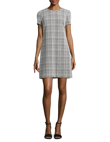 Calvin Klein Checker Ponte Shirt Dress-BLACK/CREAM-8