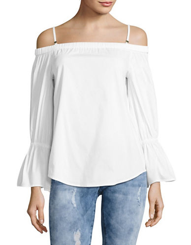 Calvin Klein Poplin Off-Shoulder Bell Sleeve Top-NATURAL-Medium