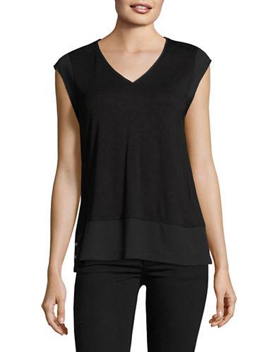 Calvin Klein Mixed Media V-Neck T-Shirt-BLACK-Medium 89264395_BLACK_Medium