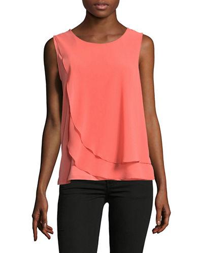 Calvin Klein Chiffon Overlay Top-PINK-Large