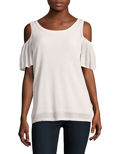 Calvin Klein Metallic Flutter Cold-Shoulder Knit Top-NATURAL-X-Small