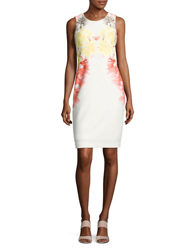 Calvin Klein Floral Scuba Sheath Dress-PINK-6