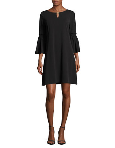 Calvin Klein Flutter Sleeve Shift Dress-BLACK-Medium