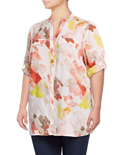 Calvin Klein Plus Printed Roll-Sleeve Blouse-PINK-1X 89193761_PINK_1X