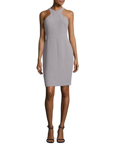 Calvin Klein Halter Crepe Sheath Dress-GREY-8